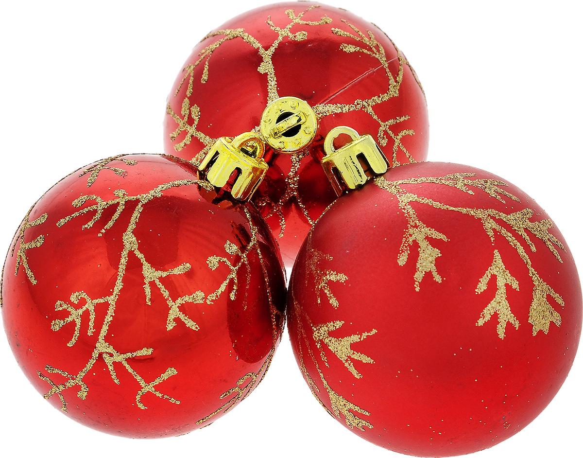 """Набор новогодних подвесных украшений EuroHouse """"Веточки"""", цвет: красный, золотистый, диаметр 6 см, 3 шт"""