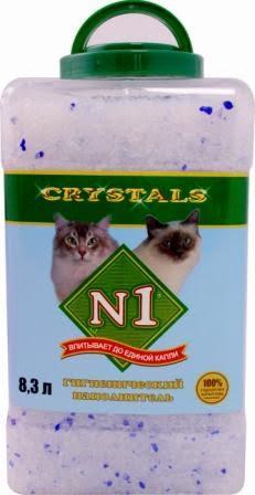 Наполнитель для кошачьего туалета №1  Crystals , в пластиковой банке, силикагелевый, 8,3 л
