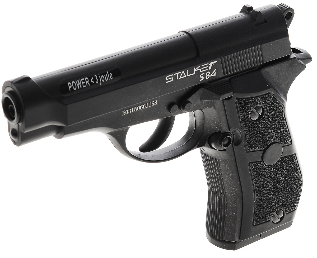 """Пневматический пистолет Stalker """"S84"""". Боевой прототип - пистолет Beretta 84.Пистолет Stalker """"S84"""" разрабатывался с учетом многолетнего опыта использования современных пневматических систем и изучения потребностей покупателей. Пистолет имеет подробную инструкцию на русском языке, сопровождающуюся картинками в качестве примера. На обратной стороне коробки приведена подробнейшая информация по ТТХ модели.Если вы поклонник классической Beretta 84, то пистолет Stalker """"S84"""" создан специально для вас. Внешне он очень похож на эту прославленную модель, а особенное сходство ощущений при держании этого оружия в руке обеспечивает использование металла для изготовления всех его деталей. Пистолет удобно лежит в руке, она не устает даже при совершении длительных серий из нескольких выстрелов.Характеристики пистолета:- баллон: СО2, 12 г- емкость магазина: 20 шариков - снаряд: стальной шарик- дульная энергия: до 3 Дж- скорость снаряда: до 120 м/с- система стрельбы: полуавтоматический- длина пистолета: 175 мм- опасная дистанция: до 205 м- вес без упаковки: 726 г.Комплектация:- пистолет- магазин- инструкцияПредупреждение: Не игрушка! Внимание: Перед использованием прочитать все инструкции. Обращаться с изделием, как и с оружием. Всегда направлять в безопасную сторону как указано в инструкции. Храните инструкцию в безопасном месте для дальнейшего ее использования. Необходим надзор взрослых. Неправильное или небрежное использование может привести к серьезным травмам или смерти. Может быть опасным до 205 м. Данная пневматика разрешена к использованию лицами, достигшими 18 лет и старше. Перед использованием прочтите все инструкции. Пользователь должен соответствовать всем требованиям, установленным всеми законами, распространяющими свое действие на использование и владение газобаллонными пистолетами."""