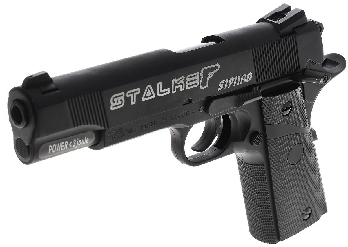 """Пистолет пневматический Stalker """"S1911RD"""", цвет: черный"""