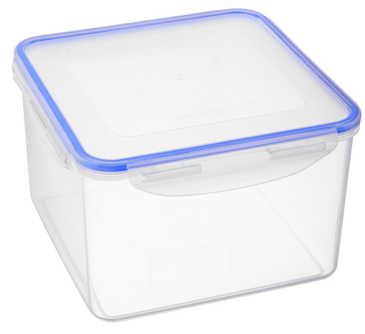 Контейнер пищевой Tek-a-Tek Safe & Fresh, 3,7 лSF4-2Пищевой контейнер Tek-a-Tek Safe & Fresh изготовлен из пищевого полипропилена (пластика). Стенки прозрачные, что позволяет видеть содержимое. Контейнер снабжен крышкой с 4-сторонними петлями-замками. Силиконовая прокладка на внутренней стороне крышки обеспечивает герметичность, препятствует попаданию внутрь воды. Контейнер обладает абсолютной нетоксичностью при любом температурном режиме. Можно использовать в посудомоечной машине, в микроволновой печи( без крышки) до 3 минут, замораживать до -40°С и размораживать различные продукты без потери вкусовых качеств.
