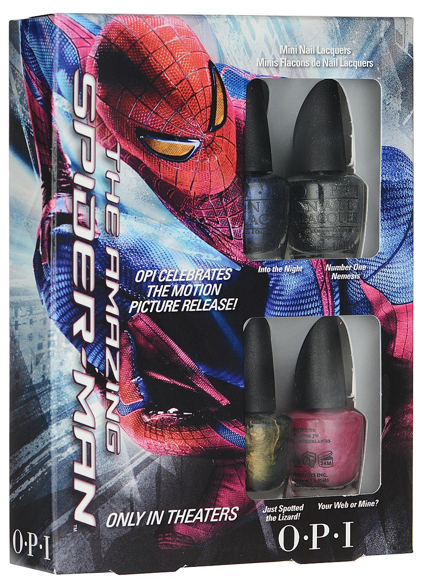 OPI Набор мини-лаков для ногтей The Amazing Spider-Man, 4 х 3,75 млDCM04Набор мини-лаков OPI The Amazing Spider-Man включает в себя четыре самых популярныхоттенка коллекции Spider-Man, представленной в России: Into the Night - этот идеальный синийбыл создан, чтобы незаметно подкрасться; Number One Nemesis - блесни этим сверкающимникелем; Just Spotted the Lizard! - рассмотри этот пресмыкающийся желто-зеленый; Your Web orMine? - идеальный розовый для щекотливых ситуаций. Лаки для ногтей однородно ложатся и равномерно распределяются по всей поверхностиногтевой пластины. Точно рассчитанная длина и диаметр колпачка, который не скользит в руках,делает его удобным для любого размера и формы пальцев. Уплотненное дно придает флаконуустойчивость. Каждый флакон лака для ногтей отличает эксклюзивная кисточка ProWide дляидеально точного нанесения лака на ногти.Товар сертифицирован.