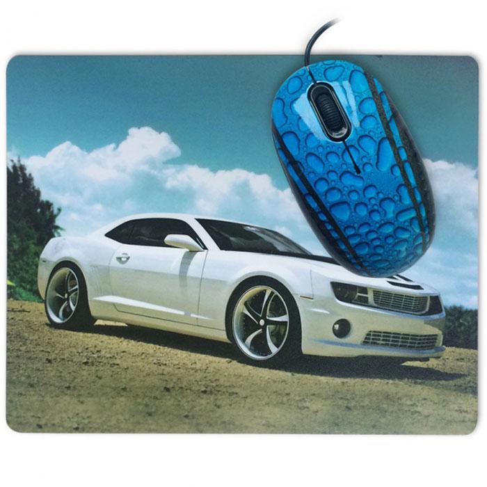 CBR Sport Car мышь + коврикSport CarCBR Sport Car - комплект для фанатов мощных автомобилей. На коврике - узнаваемые обводы легендарного muscle car, на мышке - рисунок капота гоночного автомобиля в каплях дождя. Отличный подарок и функциональный комплект аксессуаров. Сенсор мыши - 1200 dpi обеспечивает точное позиционирование курсора. Коврик изготовлен на резиновой основе с тканевой поверхностью, что обеспечивает его великолепные противоскользящие свойства и гибкость.