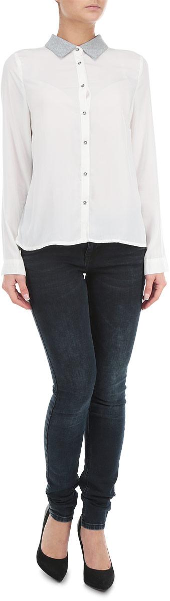 Рубашка женская Broadway, цвет: белый, серый. 10153992_001. Размер L (48)10153992_001Стильная женская рубашка-блузка Broadway с длинными рукавами, отложным воротником и застежкой на пуговицы приятная на ощупь, не сковывает движения, обеспечивая наибольший комфорт. Изделие выполнено из двух видов ткани. Рубашка обладает высокой воздухопроницаемостью и гигроскопичностью, позволяет коже дышать, тем самым обеспечивая наибольший комфорт при носке даже самым жарким летом.Эта модная и удобная рубашка послужит замечательным дополнением к вашему гардеробу.
