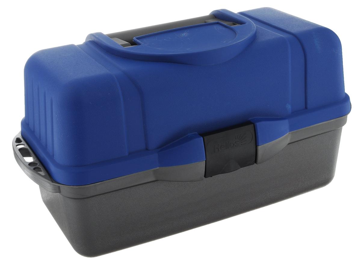 Ящик рыболова Helios, трехполочный, цвет: синий, серый40433Ящик рыболова Helios изготовлен из ударопрочного полипропилена. Удобный и вместительный ящик с тремя выдвижными полками для различной рыболовной оснастки: поплавков, приманок, крючков и другой полезной мелочи. Количество секций варьируется от 24 до 34. На дно ящика можно положить 1-3 спиннинговых катушек. Ящик закрывается на замок-защелку, оснащен удобной ручкой для переноски.