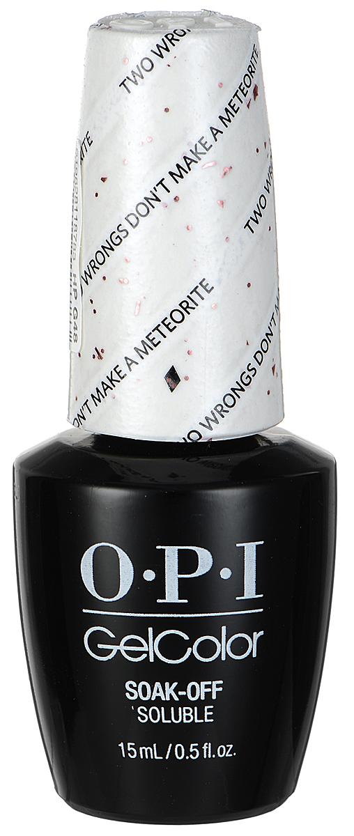 OPI Гель-лак GelColor, тон Two Wrongs Dont Make a Meteorite, 15 млHPG48Гель-лак OPI GelColor - это 100% гель в лаковом флаконе! В отличие от гелей-лаков, из-за отсутствия лаковой составляющей GelColor не подвержен сколам и трещинам. Светоотверждение в LED-лампе происходит за 30 секунд, а за 2 минуты в стандартной UV-лампе. Не требует шлифовки ногтей перед нанесением и опиливания при снятии. Снимается с помощью отмачивания за 15 минут. Не содержит ацетона, который может проникать в верхний слой ногтя и портить его. Не тускнеет и не выгорает под солнцем, сохраняя блеск до процедуры снятия.Товар сертифицирован.