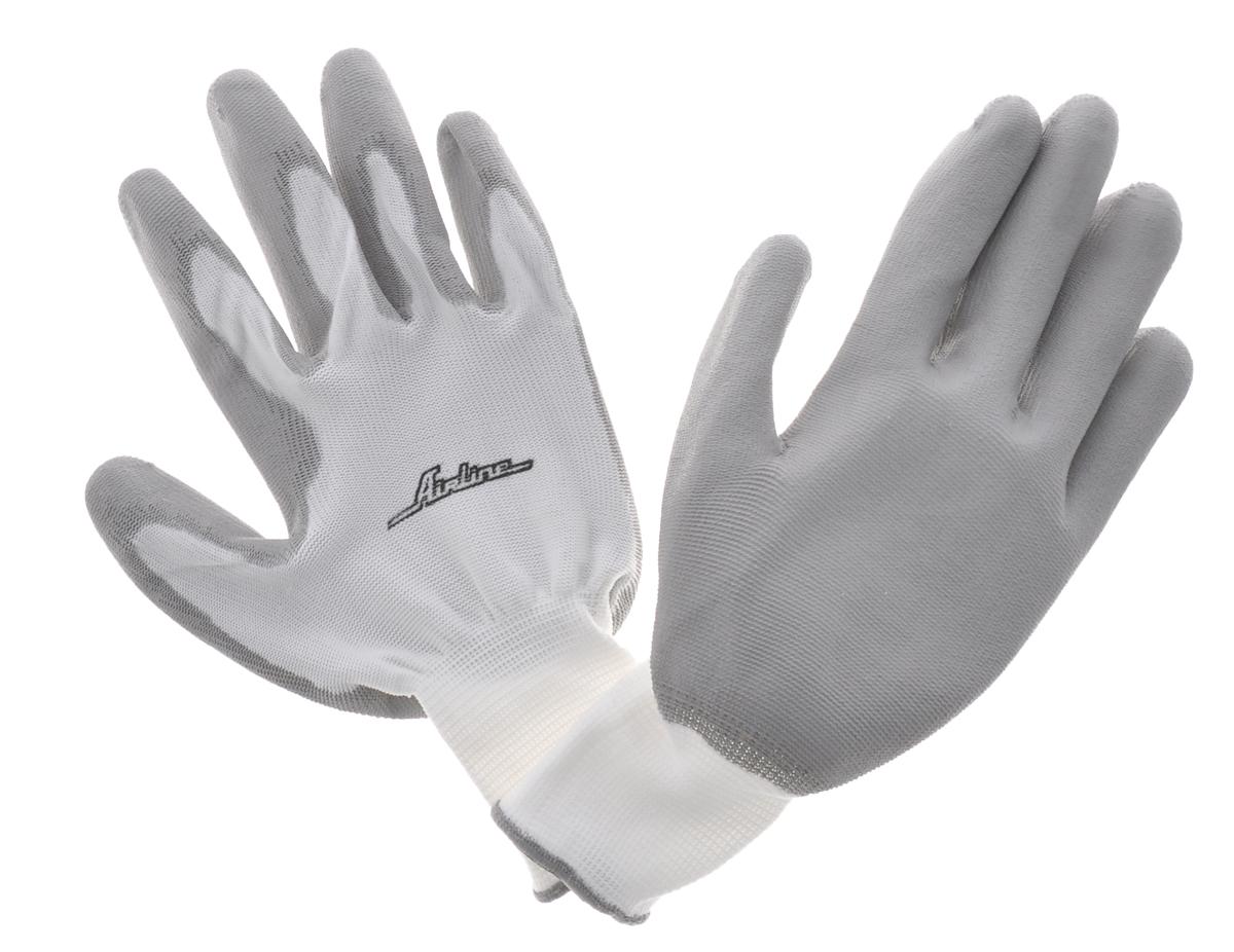 Перчатки нейлоновые Airline, цвет: белый, серый, 1 параAWG-N-02_бело-серыеБлагодаря тонким и прочным синтетическим нитям перчатки Airline практически не снижают чувствительность пальцев, и могут быть использованы при работе, требующей высокой точности движения. Перчатки имеют полиуретановое покрытие, дополнительно защищающее руки от повреждений и обеспечивающее хорошее сцепление с инструментом и рабочими поверхностями.