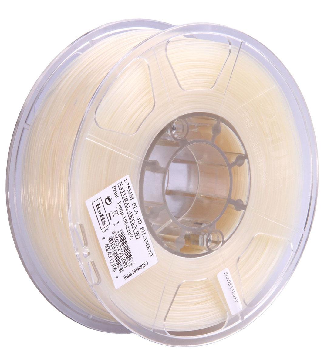 ESUN PLA-пластик в катушке, White (PLA175N1)PLA175N1Пластик PLA от ESUN долговечный и очень прочный полимер, ударопрочный, эластичный и стойкий к моющим средствам и щелочам. Один из лучших материалов для печати на 3D принтере. Пластик не имеет запаха и не является токсичным. Температура плавления190-220°C. PLA пластик для 3D-принтера применяется в деталях автомобилей, канцелярских изделиях, корпусах бытовой техники, мебели, сантехники, а также в производстве игрушек, сувениров, спортивного инвентаря, деталей оружия, медицинского оборудования и прочего.Диаметр нити: 1.75 мм