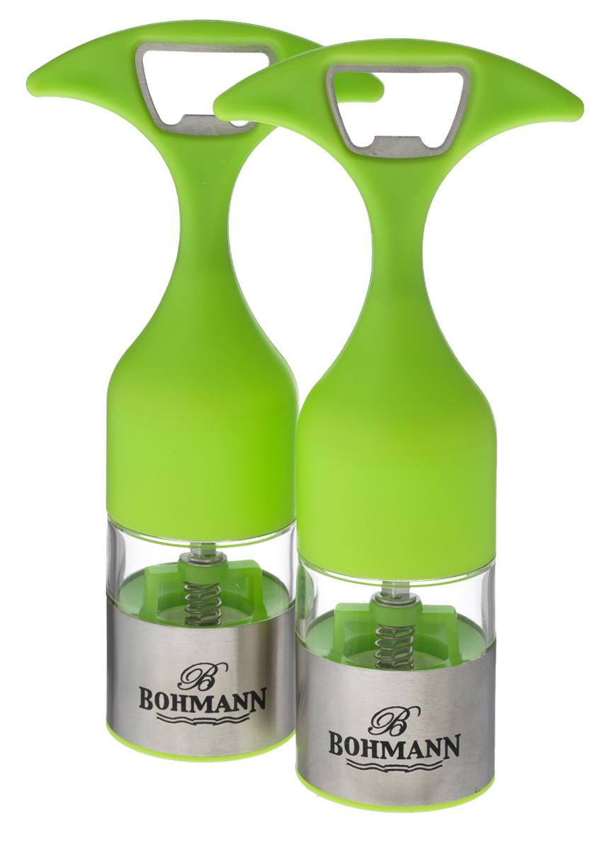 Набор мельниц для соли и перца Bohmann, цвет: прозрачный, салатовый, 2 шт7832BHНабор Bohmann состоит из мельниц для соли и перца. Предметы набора оснащенырегулируемым керамическим перемалывающим механизмом. Акриловый контейнер сосновой из нержавеющей стали оснащен удобной ручкой, которую также можноиспользовать в качестве открывалки для бутылок.Набор Bohmann станет прекрасным дополнением к вашей коллекции кухонных аксессуаров.Можно мыть в посудомоечной машине.Высота мельниц (с учетом ручки): 16,5 см.Диаметр мельниц: 4,5 см.