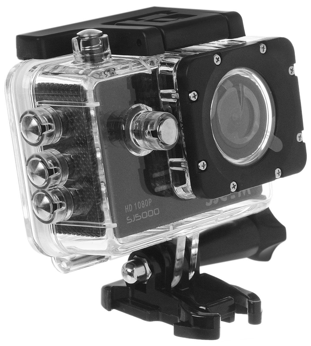 SJCAM SJ5000, Black экшн-камера00000049282SJCAM SJ5000 является продолжением новой линейки экшен камер, которую компания SJCAM представила в декабре 2014 года. Это многофункциональная экшн-камера обладает высоким качеством не только фото и видео съёмки, но и самого материала. Прочная водонепроницаемая конструкция делает её просто незаменимой в экстремальном отдыхе и спорте.Благодаря режиму цейтаоферной съёмки камера может сжимать многочасовые события (например, расцветающую розу) до нескольких секунд. Теперь восход солнца после съёмки произойдёт прямо на глазах ваших друзей! SJCAM SJ5000 может быть использована в качестве видеорегистратора благодаря возможности циклической записи. Для этого разместите её на стекле автомобиля с помощью специального крепления и нажмите на кнопку записи.Данную модель можно использовать и в качестве Full HD веб-камеры. Всё, что необходимо сделать - это подключить SJCAM к компьютеру через кабель USB и запустить Skype.SJCAM SJ5000 получила новый сенсор MN34110PA от Panasonic и чип Novatek 96655 что позволяет получить сочную и качественную картинку в качестве 1080p. Просмотр отснятого материала теперь стал намного удобнее, благодаря большому дисплею с диагональю 2 дюйма и разрешением 960x240 точек.В комплект входит множество аксессуаров и креплений, которые помогут вам произвести видеосъемку в любых экстремальных условиях. Для записи видео под водой на глубине до 30 метров имеется специальный водонепроницаемый бокс.