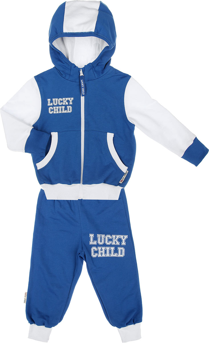 Спортивный костюм детский Lucky Child, цвет: синий, белый. 8-4. Размер 104/110, 5 лет8-4Утепленный спортивный костюм Lucky Child, состоящий из толстовки и брюк, идеально подойдет вашему ребенку и станет отличным дополнением к его гардеробу. Изготовленный из натурального хлопка, он очень мягкий и приятный на ощупь, не сковывает движения и позволяет коже дышать, не раздражает даже самую нежную и чувствительную кожу ребенка, обеспечивая наибольший комфорт. Лицевая сторона изделия гладкая, изнаночная - с теплым мягким начесом. Толстовка с капюшоном и длинными рукавами застегивается на пластиковую застежку-молнию. Капюшон с подкладкой контрастного цвета по краю дополнен трикотажной резинкой. Спереди предусмотрены два накладных кармашка. Понизу модель дополнена широкой трикотажной резинкой, а на рукавах имеются манжеты, не стягивающие запястья.Спортивные брюки на широком эластичном на поясе не сдавливают животик ребенка и не сползают. Снизу брючин предусмотрены широкие манжеты. Модель оформлена принтовыми надписями с названием бренда.В таком костюме ваш ребенок будет чувствовать себя комфортно, уютно и всегда будет в центре внимания.