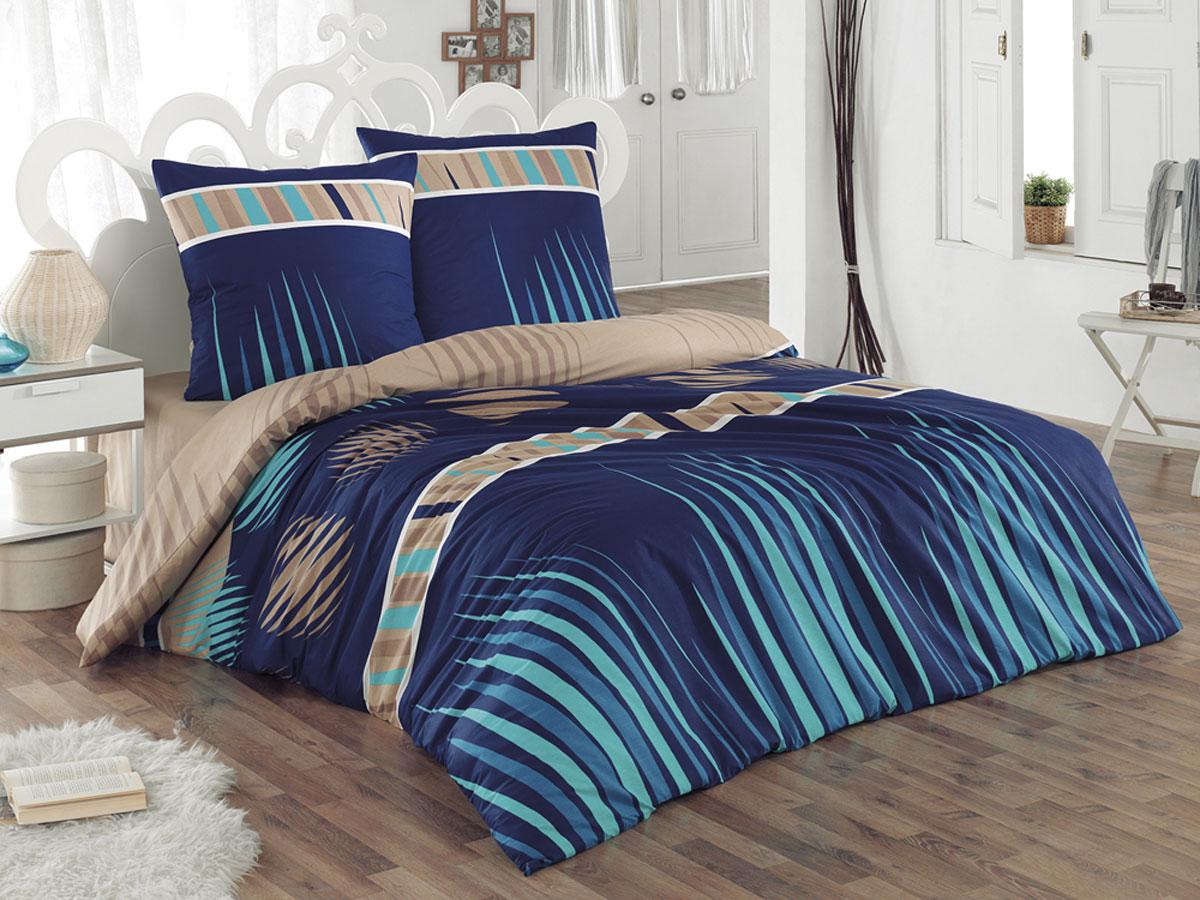 """Комплект белья Tete-a-tete Classic """"Лагуна"""", семейный, наволочки 70х70, цвет: синий, бежевый, бирюзовый"""