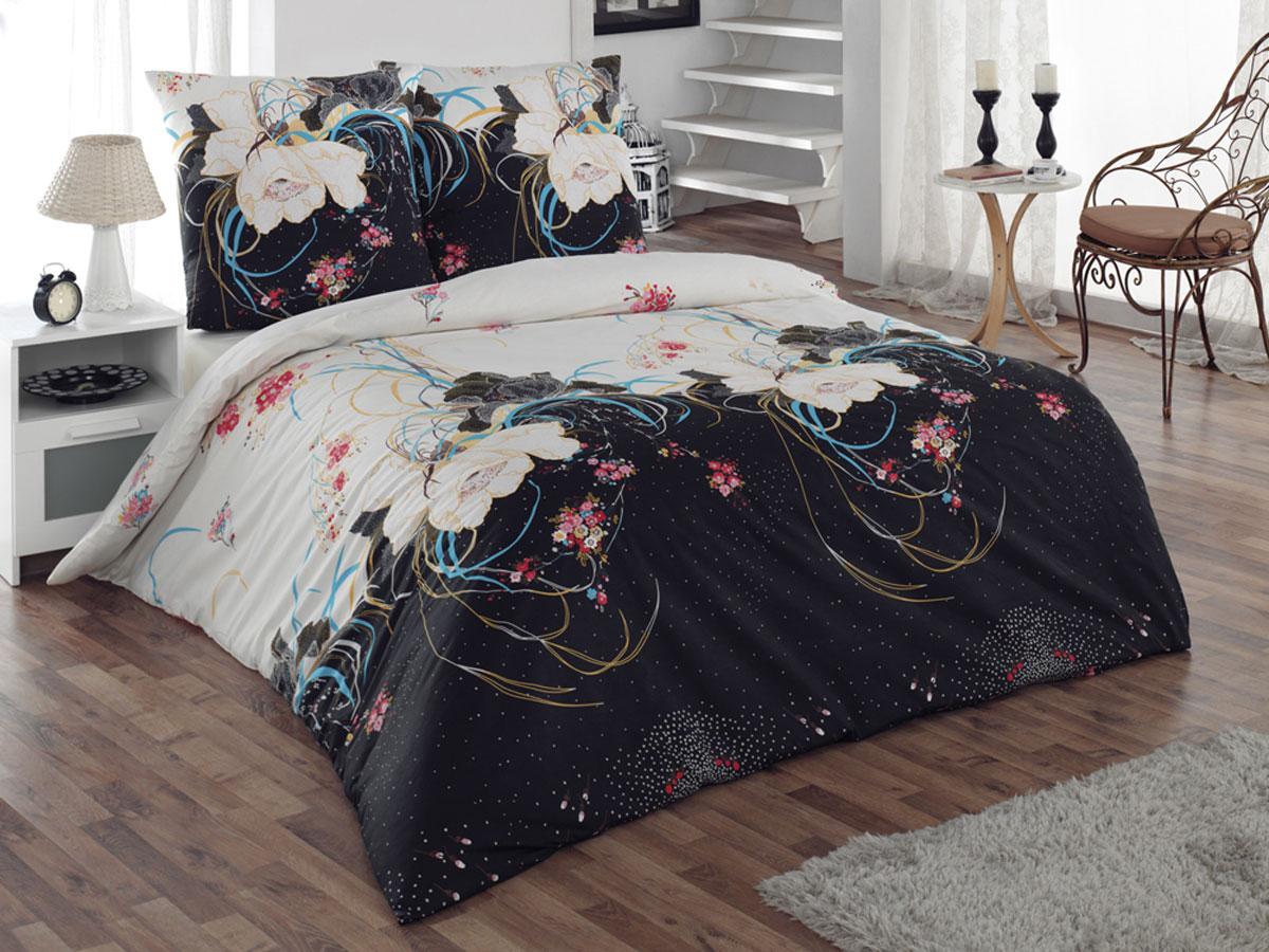 Комплект белья Tete-a-tete Classic Интрига, 1,5-спальный, наволочки 70х70, цвет: черный, белый, голубой комплект постельного белья quelle tete a tete 1010965 2сп 70х70 2