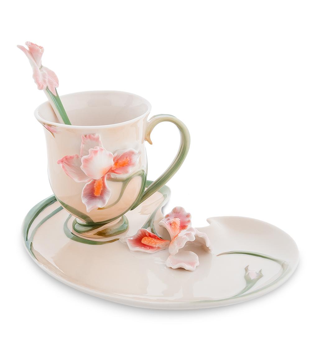Чайная пара Pavone Ирис, цвет: бежевый, зеленый, розовый104276