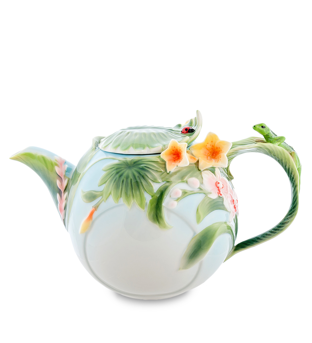 Чайник заварочный Pavone Тропики, 1,1 л103801Чайник заварочный Pavone Тропики изготовлен из высококачественной фарфора. Изделие декорировано объемным изображением ящерицы и цветов. Такой чайник прекрасно дополнит сервировку стола к чаепитию и станет его неизменным атрибутом.