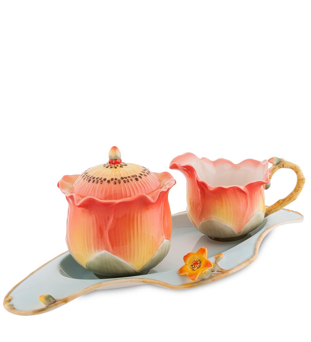Набор Pavone Капок, 3 предмета103810Набор Pavone Капок состоит из сахарницы, молочника и подноса,изготовленных из фарфора. Предметы набора оформленыизящными объемными цветами.Набор Pavone Капок украсит ваш кухонный стол, а такжестанет замечательным подарком друзьям и близким.Изделие упаковано в подарочную коробку с атласной подложкой. Объем сахарницы: 250 мл.Объем молочника: 150 мл.Размеры подноса: 31 х 16 см.