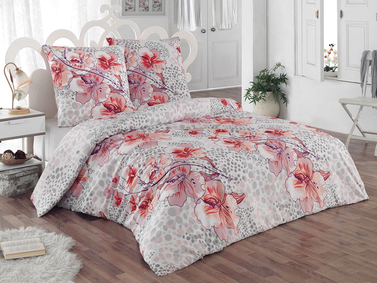Комплект белья Tete-a-tete Classic Катрина, 1,5-спальный, наволочки 70х70, цвет: белый, светло-розовый, оранжевый комплект постельного белья quelle tete a tete 1010965 2сп 70х70 2