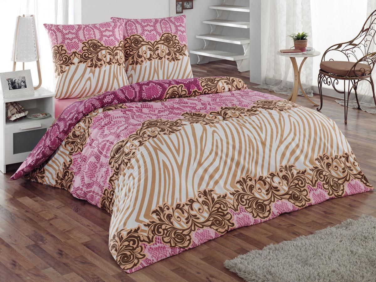 Комплект белья Tete-a-Tete Classic Фэшн, 2-спальный, наволочки 70х70, цвет: фуксия, коричневый, белый. К-8070К-8070Комплект постельного белья Tete-a-Tete Classic Фэшн является экологически безопасным для всей семьи, так как выполнен из бязи (100% натурального хлопка). Гладкая структура делает ткань приятной на ощупь, мягкой и нежной, при этом она прочная и хорошо сохраняет форму. Ткань легко гладится, не линяет и не садится. Комплект состоит из пододеяльника, простыни и двух наволочек. Изделия оформлены оригинальным принтом. Комплект постельного белья Tete-a-Tete Classic Фэшн станет отличным дополнением вашего интерьера и подарит гармоничный сон.