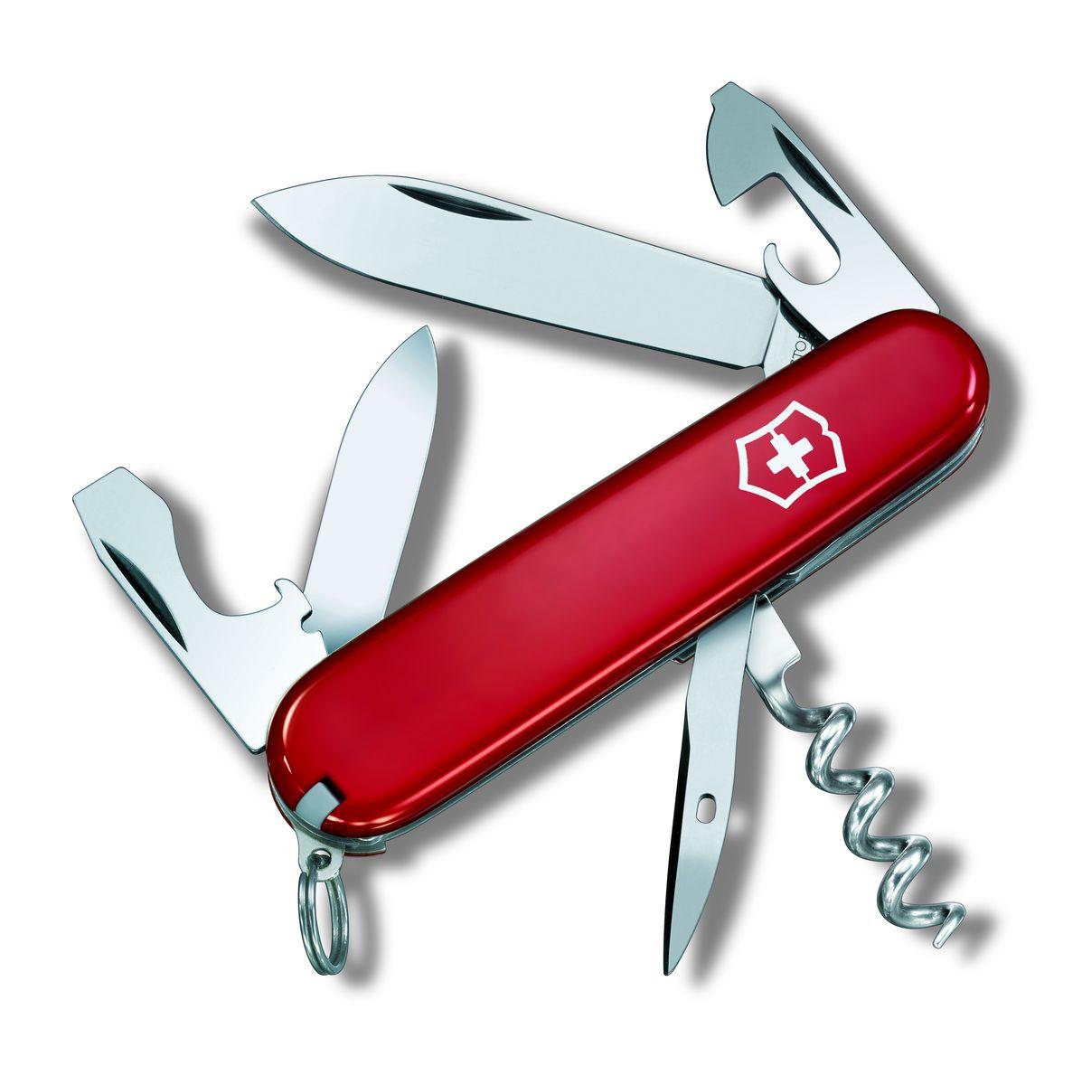 Нож перочинный Victorinox Tourist 0.3603, цвет: красный, длина клинка 63 мм0.3603Маленький красный карманный нож с эмблемой креста на щите на рукояти - самый узнаваемый символ компании Victorinox.В 1897 году основатель компании Карл Эльзенер разработал первый Швейцарский армейский нож. Более 130 лет компания Victorinox разрабатывает продукты,которые не просто уникальны по дизайну и качеству,но и способны стать верными спутниками по жизни как для великих,так и для небольших приключений. Швейцарский армейский нож Victorinox Tourist 0.3603 имеет 12 функций: 1. Большое лезвие2. Малое лезвие3. Шило, Кернер4. Штопор5. Кольцо для ключей6. Пинцет7. Зубочистка8. Открывалка для бутылок с:9. - Отверткой10. Консервный нож с:11. - Отверткой12. - Инструментом для снятия изоляции Цвет: красный