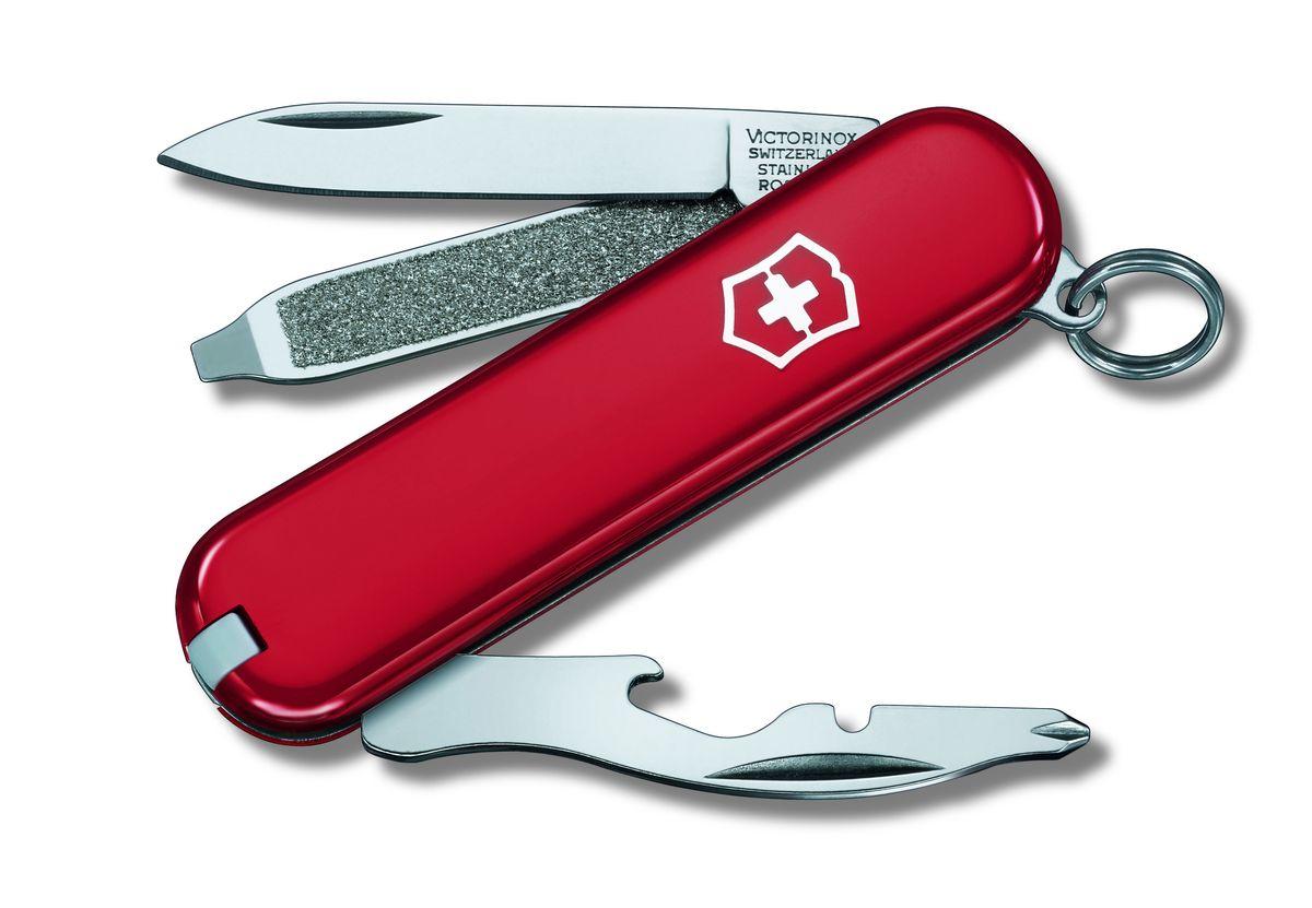Нож-брелок Victorinox Rally, цвет: красный, 9 функций, 5,8 см0.6163Лезвие складного ножа-брелока Victorinox Rally изготовлено из высококачественной нержавеющей стали. Ручка, выполненная из прочного пластика, обеспечивает надежный и удобный хват. Нож имеет компактные размеры и не занимает много места.Хорошее качество, надежный долговечный материал и эргономичная рукоятка - что может быть удобнее на природе или на пикнике!В комплекте чехол, изготовленный из искусственной кожи.Функции ножа:Лезвие.Пилка для ногтей с отверткой.Открывалка для бутылок с намагниченной крестовой отверткой.Инструмент для снятия изоляции.Кольцо для ключей.Пинцет.Зубочистка.Длина ножа в сложенном виде: 5,8 см.Длина ножа в разложенном виде: 9,8 см.