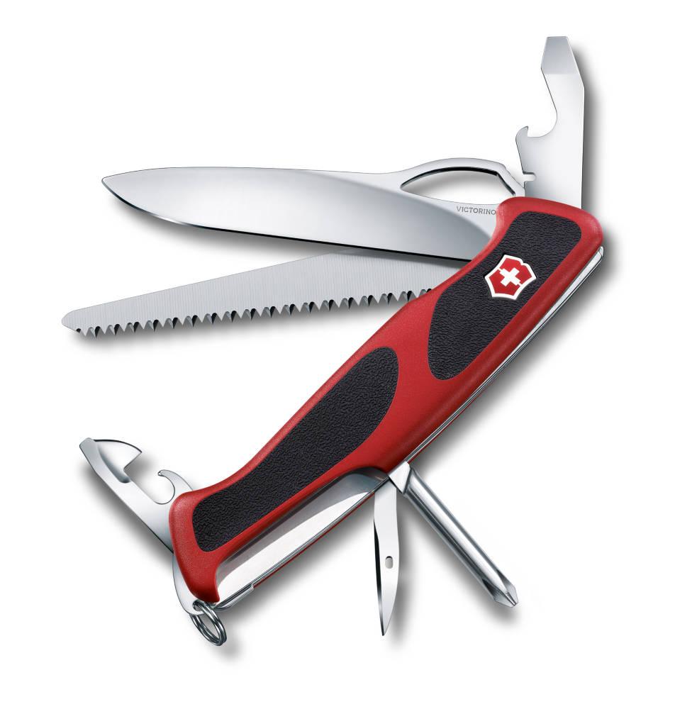 Нож перочинный Victorinox RangerGrip 78 0.9663.MC, цвет: красный, черный0.9663.MCПерочинный нож RANGERGRIP 78 имеет 12 функций: 1. Фиксирующееся лезвие с петлёй для открывания одной рукой2. Консервный нож с: 3. – Малой отвёрткой 4. Открывалка для бутылок с: 5. – Фиксирующейся отвёрткой6. – Инструментом для снятия изоляции7. Пила по дереву8. Шило, кернер9. Крестовая отвёртка10. Кольцо для ключей11. Пинцет12. ЗубочисткаЦвет рукояти: красный/чёрный