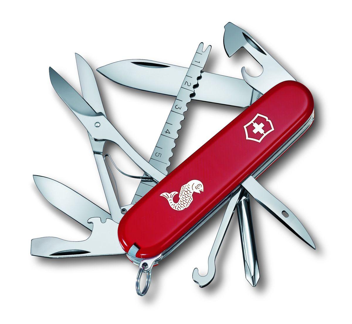 Нож перочинный Victorinox Fisherman 1.4733.72, цвет: красный1.4733.72Швейцарский армейский нож FISHERMAN имеет 18 функций: 1. Большое лезвие 2. Малое лезвие 3. Крестовая отвёртка 4. Консервный нож с: 5. – Малой отвёрткой6. Открывалка для бутылок с:7. – Отвёрткой8. – Инструментом для снятия изоляции9. Шило, кернер10. Кольцо для ключей11. Пинцет12. Зубочистка13. Ножницы14. Многофункциональный крючок15. Инструмент для чистки рыбы с:16. – Инструментом для извлечения рыболовного крючка17. – Линейкой (сантиметры)18. – Линейкой (дюймы)Цвет рукояти: красный