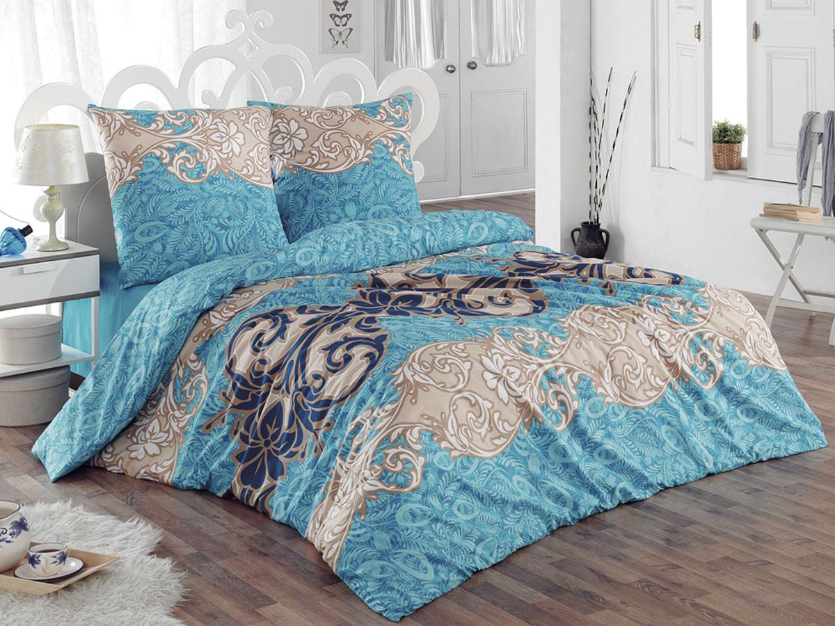 Комплект белья Tete-a-tete Classic Морозко, евро, наволочки 70х70, цвет: голубой, синий, светло-коричневый