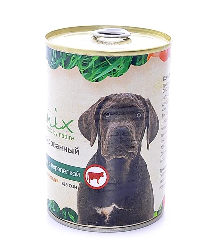 Консервы для собак Organix, говядина с перепелкой, 410 г19666Мясные консервы для взрослых собак с говядиной и перепелкой изготовлены из 100% свежего мяса различного вида. Не содержит искусственных красителей, ароматизаторов или консервантов, ГМО. Специальная обработка помогает сохранять корм длительное время. Приготовлены из тщательно отобранных сортов мяса, которые внесут приятное разнообразие в меню вашей собаки.Корм разработан для обеспечения всех питательных потребностей взрослых собак. Состав: говядина, рубец, мясо перепелок, масло растительное, мука костная, стабилизатор Е472с, соль, вода. Пищевая ценность 100 г продукта: белок – не менее 7,0 г, жир – не более 10,0 г, энергетическая ценность (калорийность) – 118 ккал / 489 кДж. Условия хранения: в прохладном темном месте.