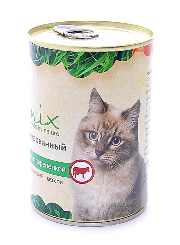 Консервы для кошек Organix, говядина с перепелкой, 410 г24870Мясные консервы для взрослых кошек с говядиной и перепелкой изготовлены из 100% свежего мяса различного вида. Не содержит искусственных красителей, ароматизаторов или консервантов, ГМО. Специальная обработка помогает сохранять корм длительное время. Приготовлены из тщательно отобранных сортов мяса, которые внесут приятное разнообразие в меню вашей кошки.Корм разработан для обеспечения всех питательных потребностей взрослых кошек. Состав: говядина, печень, мясо перепелок, масло растительное, стабилизатор Е472с, вода.Пищевая ценность 100 г продукта: белок – не менее 7,0 г , жир – не более 10,0 г, энергетическая ценность (калорийность) – 163 ккал / 674 кДж. Условия хранения: в прохладном темном месте.