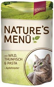 Консервы для кошек Schmusy Nature, дичь с тунцом, 100 г70014Консервы Schmusy Nature - это полноценная еда для кошек и котов. Консервы богаты содержанием отборного мяса, потому что кошки - это настоящие хищники и нуждаются в пище, богатой белками. В этих пакетикахх маленькие кусочки мяса залиты деликатным соусом. Кроме отборного мяса в состав входят пивные дрожжи, которые укрепляют имунную систему кошек. Также добавлен таурин для правильного развития организма кошек. Состав: отборное мясо, дичь, тунец, легкие, печень, мясные субпродукты, паста, яблочный жмых, минеральные вещества.Товар сертифицирован.