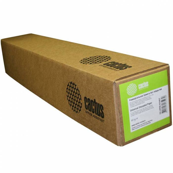 Cactus CS-LFP80-610457 универсальная бумага для плоттеровCS-LFP80-610457Универсальная бумага без покрытия Cactus CS-LFP80-1067457 для плоттеров.Длина: 45,7 мШирина: 61 смВтулка: 50.8 мм (2)