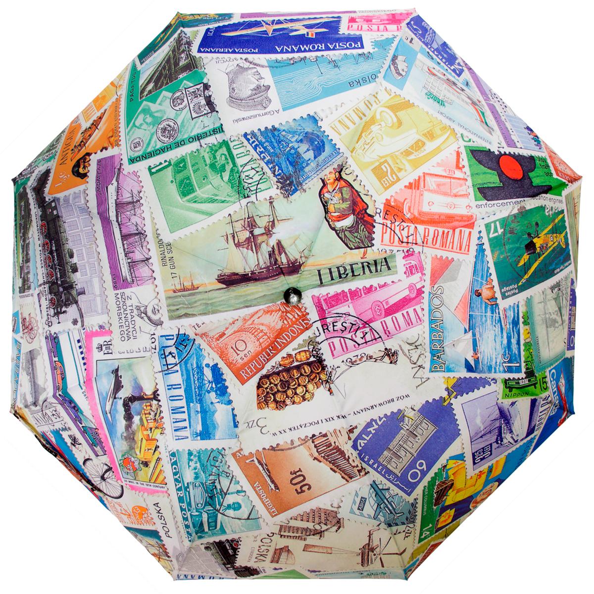 Зонт женский Flioraj Почтовые марки, автомат, 3 сложения, белый, зеленый, розовый зонт женский derby polka 3 сложения полный автомат бордовый