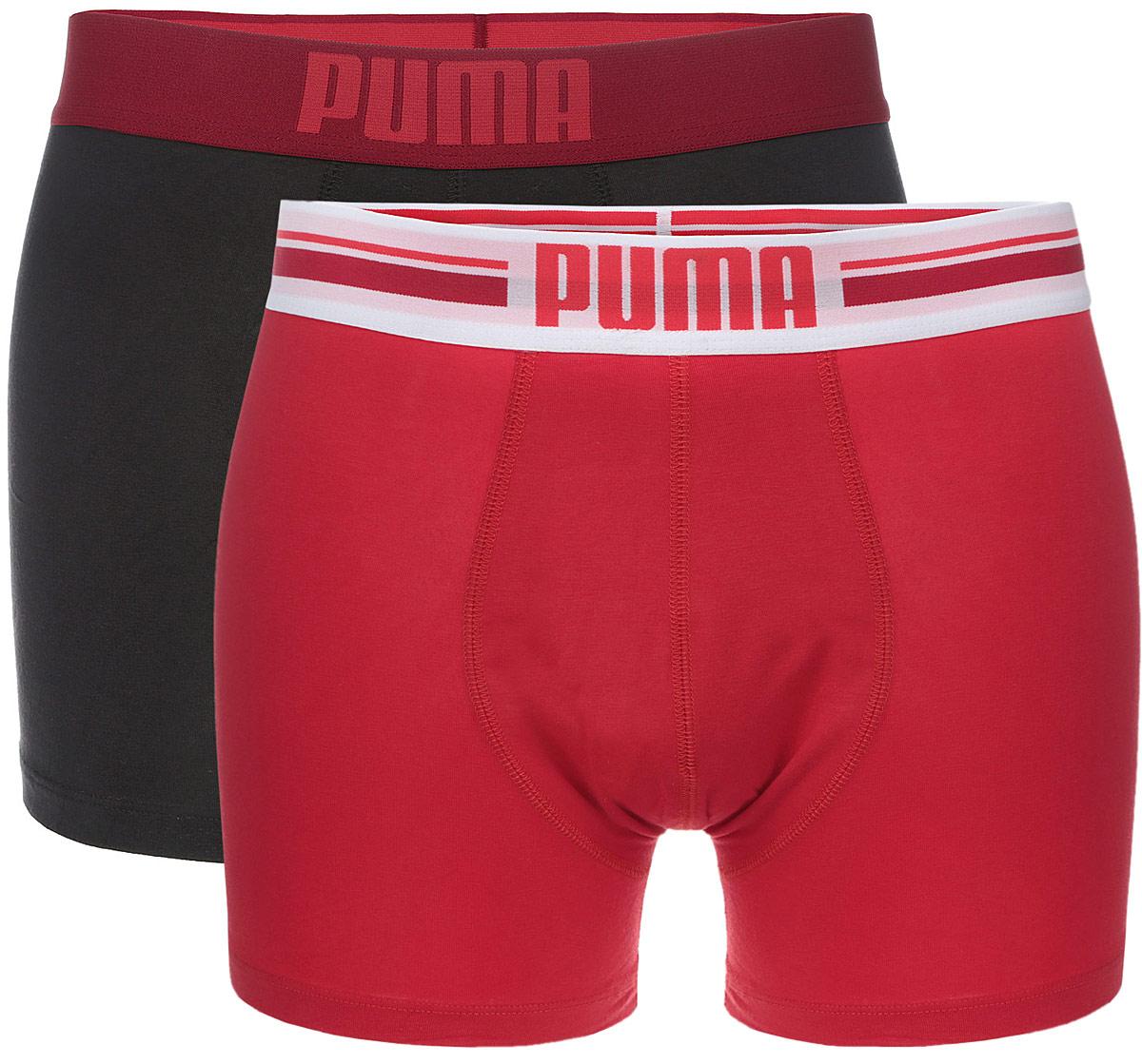 Трусы мужские Puma Placed Logo Boxer 2P, цвет: красный, темно-серый, 2 шт. 90651902. Размер L (48/50)90651902Комплект классических трусов-боксеров Puma Placed Logo Boxer 2P на широкой резинке с надписью логотипа бренда по поясу. Тонкие, мягкие, нежные и приятные к телу трусы подходят к любой фигуре и будут незаметны под одеждой. Модель создана для тех, кто предпочитает комфорт, практичность и современный дизайн. В комплекте 2 шт.