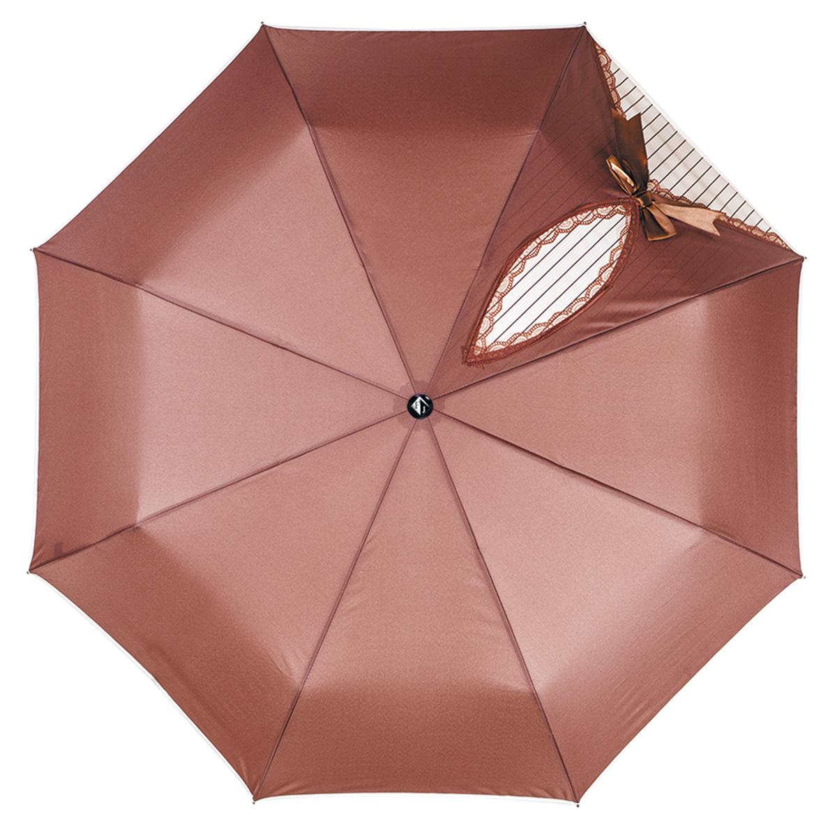 Купить Зонт женский Flioraj Кокетка , автомат, 3 сложения, цвет: коричневый. 20001 FJ,