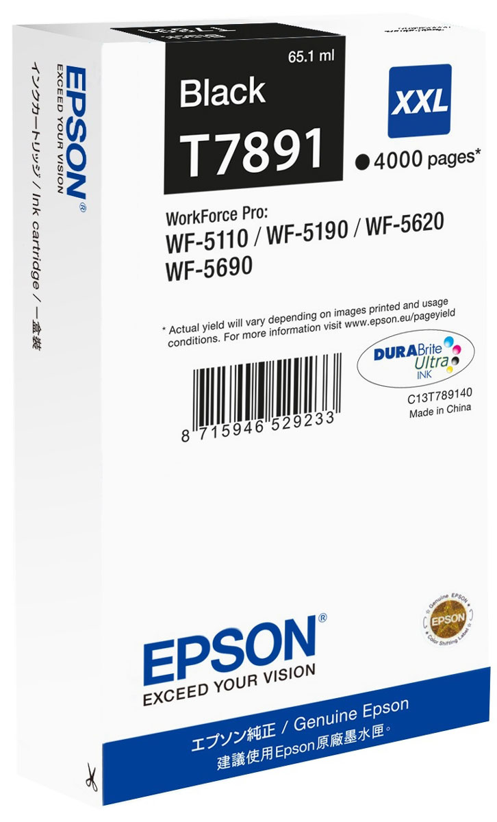 Epson T7891 XXL (C13T789140), Black картридж для WorkForce Pro WF-5xxx epson t7014 xl c13t70144010 yellow картридж для workforce pro wp 4000 5000 series