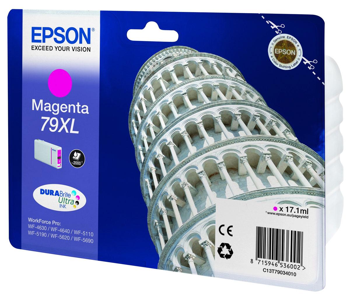 Epson T7903 XL (C13T79034010), Magenta картридж для WorkForce Pro WF-5xxxC13T79034010Картридж повышенной емкости Epson T7903 XL с пурпурными чернилами для Epson WorkForce Pro служит для печати превосходных фотоснимков и рассчитан на 2600 страниц печати.