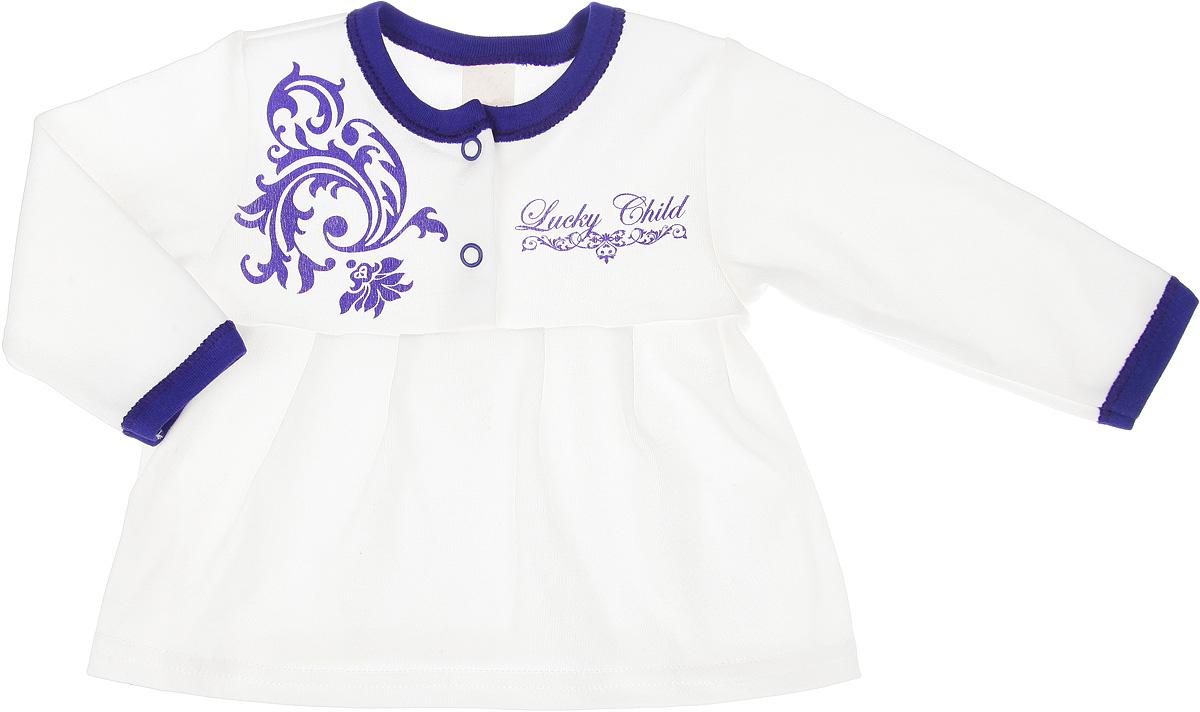 Кофточка для девочки Lucky Child Нежность, цвет: фиолетовый, молочный. 15-8. Размер 62/68, 2-3 месяца кофточка детская lucky child 2 17 розовый р 68 74