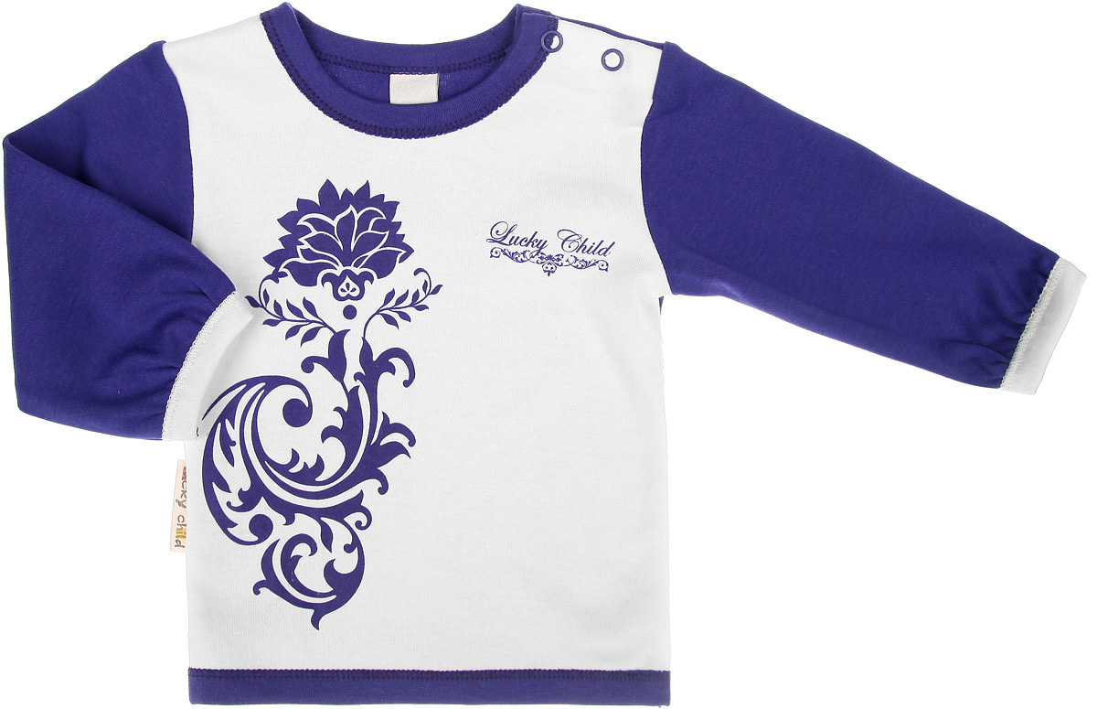 Футболка с длинным рукавом для девочки Lucky Child Нежность, цвет: фиолетовый, молочный. 15-12. Размер 62/68, 2-3 месяца футболка для мальчика lucky child цвет экрю 6 26мк размер 62 68 2 3 месяца