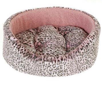 """Лежак для животных Happy Puppy """"Саванна"""", цвет: розовый, серый, 50 х 45 х 18 см"""