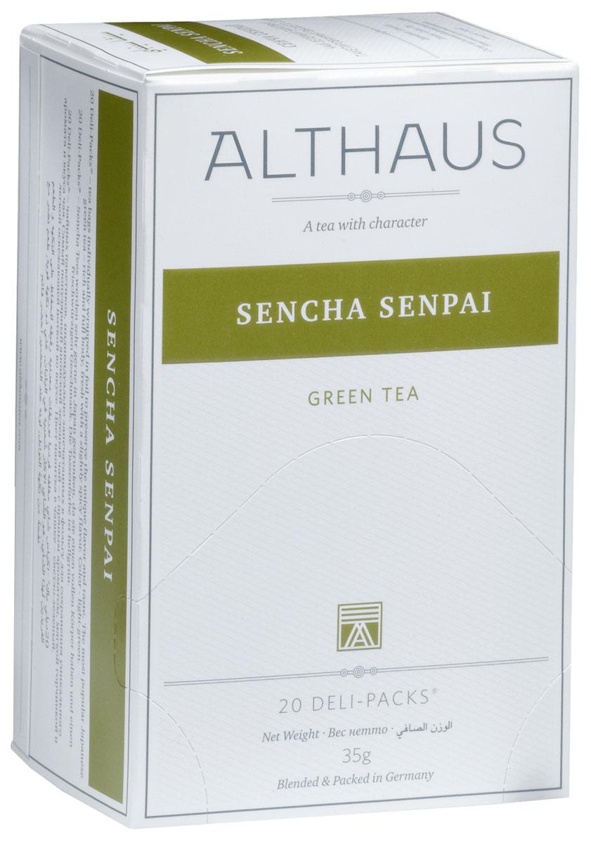 Althaus Sencha Senpai чай зеленый в пакетиках, 20 штTALTHB-DP0019Sencha Senpai - классический японский зеленый чай, обработанный по особой технологии на пару. Сенча обладает терпким вкусом с утонченным травянистым ароматом, мягкой горчинкой и легкой сладковатой ноткой. Сенча Сенпай превосходно сочетается с японской кухней. Оптимальная температура заваривания Сенча Сенпай 80°С. В каждой упаковке находится по 20 пакетиков чая для чашек. Страна: Япония.Температура воды: 75-85 °С.Время заваривания: 2-3 мин.Цвет в чашке: светло-зеленый.Althaus - премиальная чайная коллекция.Чай, ингредиенты и ароматизаторы для своих купажей компания Althaus получает от тщательно выбираемых чайных садов, мировых поставщиков высококачественных сублимированных фруктов и трав, а также ведущих европейских производителей ароматизаторов. Пакетик Deli Pack представляет собой порционный двухкамерный мешочек из фильтр-бумаги, запаянный в специальный термоконверт с алюминиевой фольгой. Материал конвертов, в которые запаиваются мешочки с чаем Althaus состоит из четырех слоев:белая бумага с нанесением изображенияполиэтилен пониженной плотностиалюминиевая фольгаполипропилен.Благодаря такому составу упаковка Deli Packs исключает потерю первоначального вкуса и аромата чая в процессе транспортировки и хранения. Deli Packs прекрасно подходят для:домашнего использованияресторанов самообслуживаниябанкетовзавтраков в гостиницахлюбых других случаев, когда необходимо быстро и без особых усилий заварить чашку качественного чая.