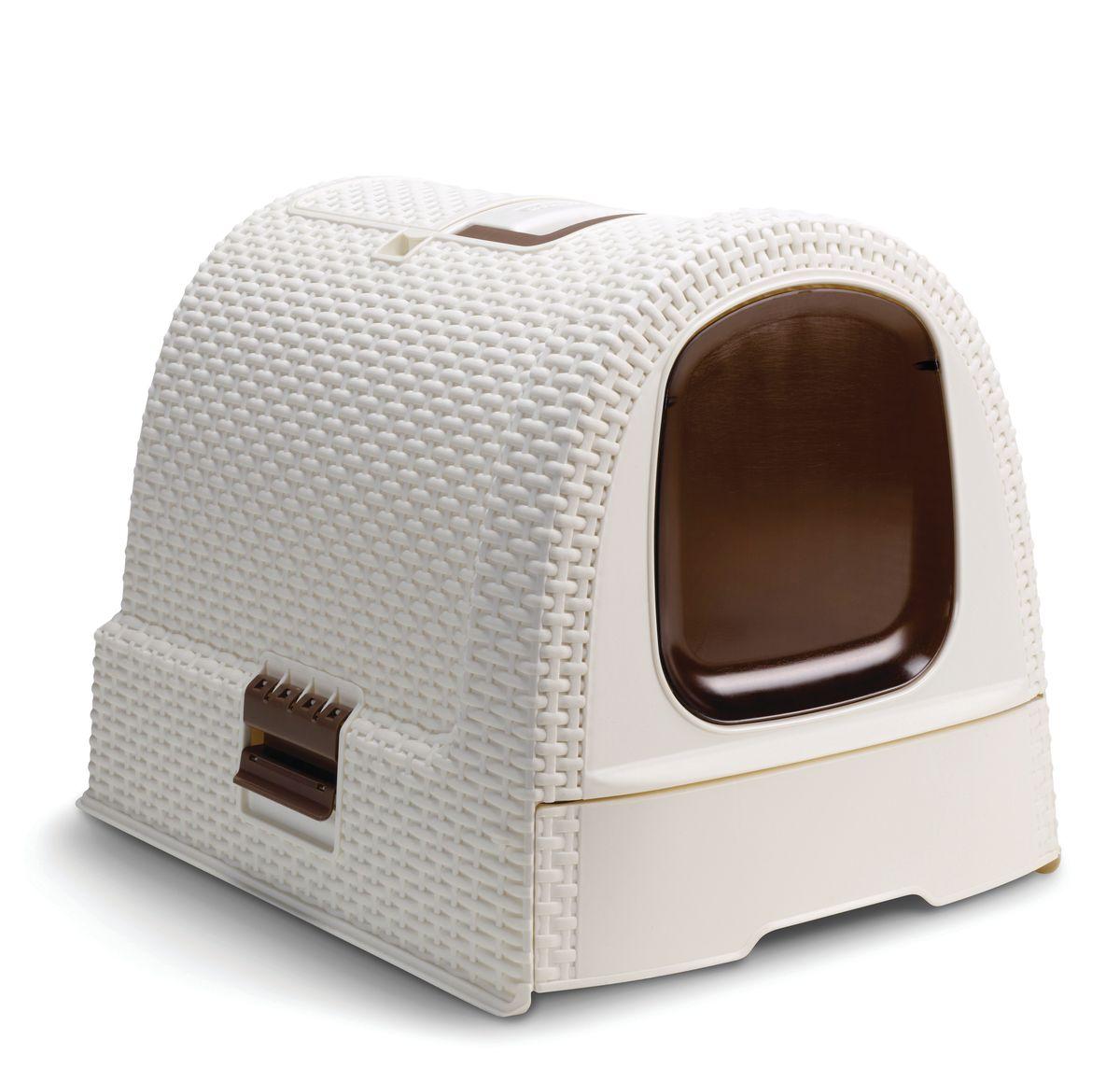 Туалет для кошек CurverPet Life, закрытый, цвет: кремово-коричневый, 51 х 39 х 40 см20237Разборный туалет для кошек CurverPet Life выполнен из пластика и оформлен декоративным плетением. Оснащен ручкой для удобной транспортировки и выдвижным лотком для удобства чистки.Туалет для кошек CurverPet Life идеально подходит для стеснительных особ.Совок и фильтр в комплект не входят.