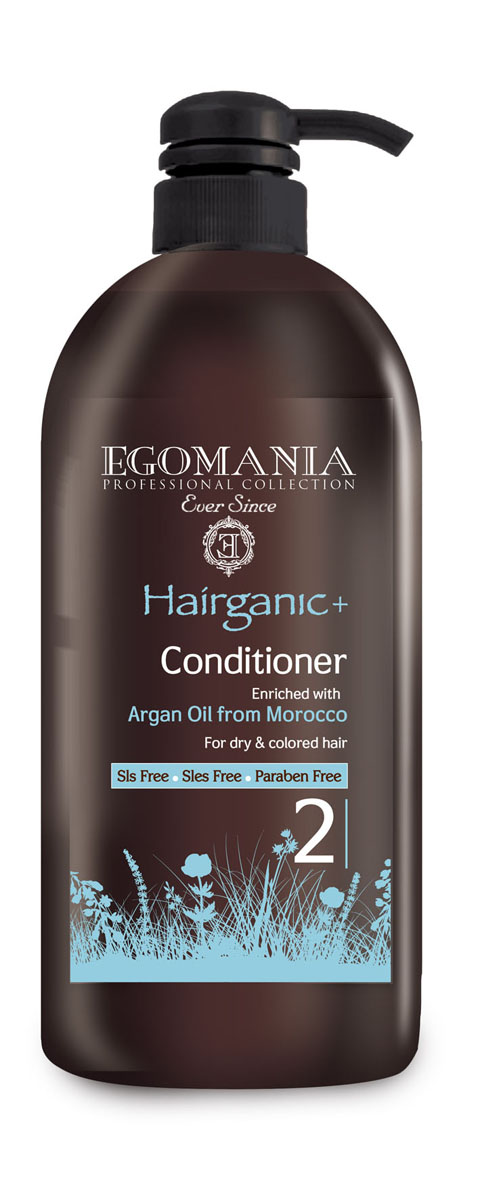 Egomania Professional Collection Кондиционер Hairganic+ №2 с маслом аргана для сухих и окрашенных волос 1000 мл1640059Кондиционер подходит для сухих, истонченных, ломких, окрашенных и поврежденных волос, для жирной структуры волос и кожи головы.Благодаря содержанию масла аргана питает и увлажняет волосы, делая их плотными и эластичными. После использования кондиционера волосы становятся мягкими, блестящими и послушными.Входящие в состав кондиционера протеины пшеницы помогают поддержать объем укладки. Экстракты ромашки и розмарина регулируют работу сальных желез. Масло календулы и сок листьев алоэ регенерируют кутикулу волоса и плотно запечатывают ее.