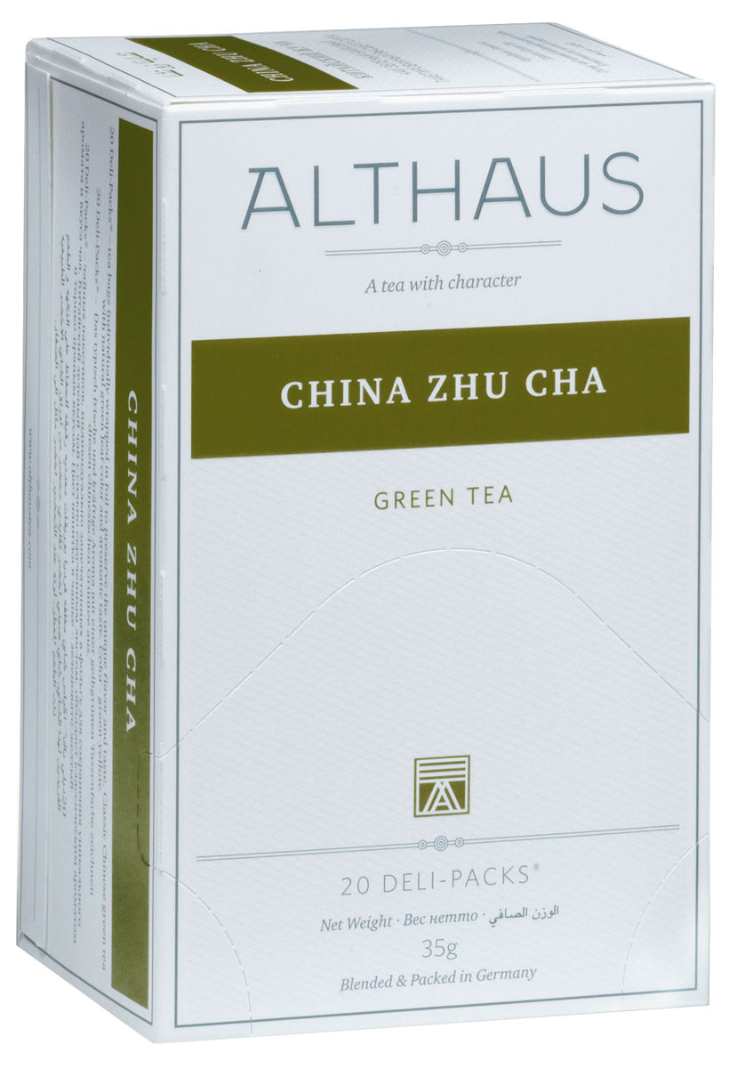 Althaus China Zhu Cha чай зеленый в пакетиках, 20 штTALTHB-DP0018China Zhu Cha - популярный зеленый чай с классическим ароматом и терпким травянистым вкусом. Легкие смолисто-дымные оттенки, явная кислинка и нота сухофруктов создают индивидуальность этого чая.В Азии Жу Ча приобрел широкую популярность как повседневный зеленый чай.Он часто используется в различных смесях и ароматизированных чаях.Оптимальная температура заваривания чая Китайский Жу Ча 80°С.В каждой упаковке находится по 20 пакетиков чая для чашек.Страна: Китай.Температура воды: 80-90 °С.Время заваривания: 2-3 мин.Цвет в чашке: зелено-желтый.Althaus - премиальная чайная коллекция.Чай, ингредиенты и ароматизаторы для своих купажей компания Althaus получает от тщательно выбираемых чайных садов, мировых поставщиков высококачественных сублимированных фруктов и трав, а также ведущих европейских производителей ароматизаторов. Пакетик Deli Pack представляет собой порционный двухкамерный мешочек из фильтр-бумаги, запаянный в специальный термоконверт с алюминиевой фольгой. Материал конвертов, в которые запаиваются мешочки с чаем Althaus состоит из четырех слоев:белая бумага с нанесением изображенияполиэтилен пониженной плотностиалюминиевая фольгаполипропилен.Благодаря такому составу упаковка Deli Packs исключает потерю первоначального вкуса и аромата чая в процессе транспортировки и хранения. Deli Packs прекрасно подходят для:домашнего использованияресторанов самообслуживаниябанкетовзавтраков в гостиницахлюбых других случаев, когда необходимо быстро и без особых усилий заварить чашку качественного чая.