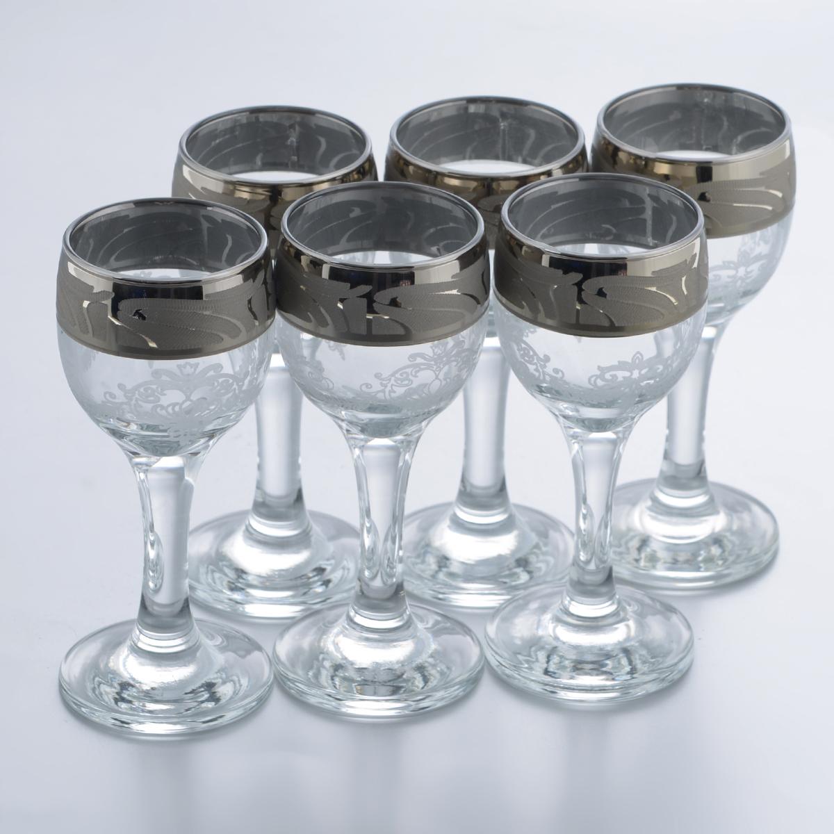 Набор рюмок Гусь-Хрустальный Мускат, 60 мл, 6 штGE05-134Набор Гусь-Хрустальный Мускат состоит из 6 рюмок на длинных ножках, изготовленных из высококачественного натрий-кальций-силикатного стекла. Изделия оформлены красивым зеркальным покрытием и белым матовым орнаментом. Такой набор прекрасно дополнит праздничный стол и станет желанным подарком в любом доме. Разрешается мыть в посудомоечной машине. Диаметр рюмки (по верхнему краю): 4,4 см. Высота рюмки: 11,3 см. Диаметр основания рюмки: 5 см.