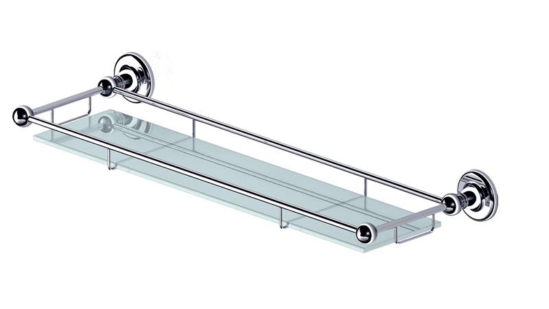 Полка для ванной Gro Welle WassermeloneWSM501Полка Gro Welle Wassermelone просто создана для современной ванной комнаты. Изделие выполнено из высококачественной латуни и стекла. Хромоникелевое покрытие Crystallight придает изделию яркий металлический блеск и эстетичный внешний вид. Имеет водоотталкивающие свойства, благодаря которым защищает изделие. Покрытие устойчиво к кислотным и щелочным чистящим средствам. Стильная и элегантная, эта полка позволит вам сэкономить место и уместить гораздо больше вещей, чем вы можете предположить. Полка крепится к стене при помощи шурупов (входят в комплект).Ширина полки: 60 см.Высота полки: 6,45 см.Отступ от стены: 18,8 см.