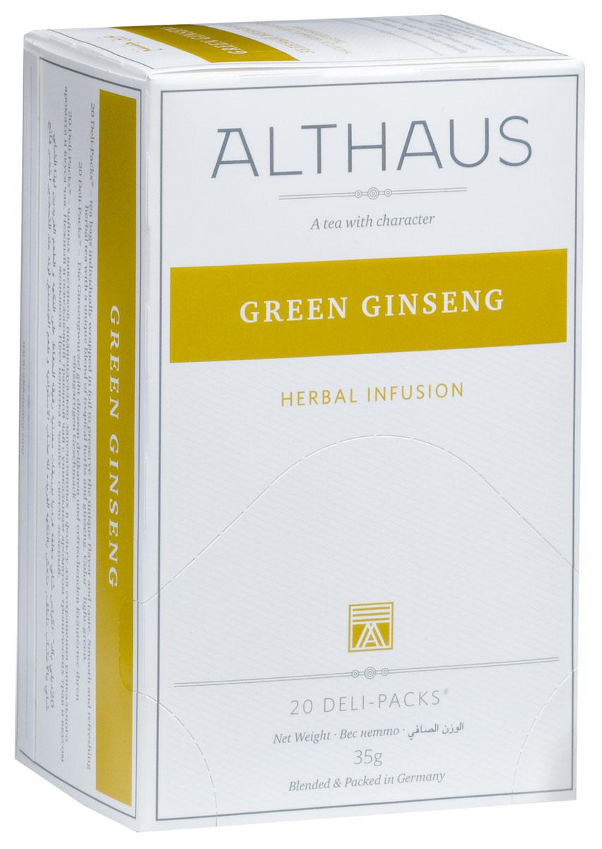 Althaus Ginseng Balance чай травяной в пакетиках, 20 штTALTHB-DP0024Ginseng Balance - нежный и освежающим травяной чай с уникальным ароматом и вкусом женьшеня. Этот купаж богат полезными для здоровья травами. Женьшень, мята, лимонник, ройбуш и вербена улучшают самочувствие, повышают работоспособность и дарят заряд жизненных сил.Ginseng Balance прекрасно подойдет для утреннего бодрящего чаепития.В каждой упаковке находится по 20 пакетиков чая для чашек. Страна: Германия.Температура воды: 85-100 °С.Время заваривания: 4-5 мин.Цвет в чашке: светло-зеленый.Althaus - премиальная чайная коллекция.Чай, ингредиенты и ароматизаторы для своих купажей компания Althaus получает от тщательно выбираемых чайных садов, мировых поставщиков высококачественных сублимированных фруктов и трав, а также ведущих европейских производителей ароматизаторов. Пакетик Deli Pack представляет собой порционный двухкамерный мешочек из фильтр-бумаги, запаянный в специальный термоконверт с алюминиевой фольгой. Материал конвертов, в которые запаиваются мешочки с чаем Althaus состоит из четырех слоев:белая бумага с нанесением изображенияполиэтилен пониженной плотностиалюминиевая фольгаполипропилен.Благодаря такому составу упаковка Deli Packs исключает потерю первоначального вкуса и аромата чая в процессе транспортировки и хранения. Deli Packs прекрасно подходят для:домашнего использованияресторанов самообслуживаниябанкетовзавтраков в гостиницахлюбых других случаев, когда необходимо быстро и без особых усилий заварить чашку качественного чая.Уважаемые клиенты! Обращаем ваше внимание на то, что упаковка может иметь несколько видов дизайна. Поставка осуществляется в зависимости от наличия на складе.