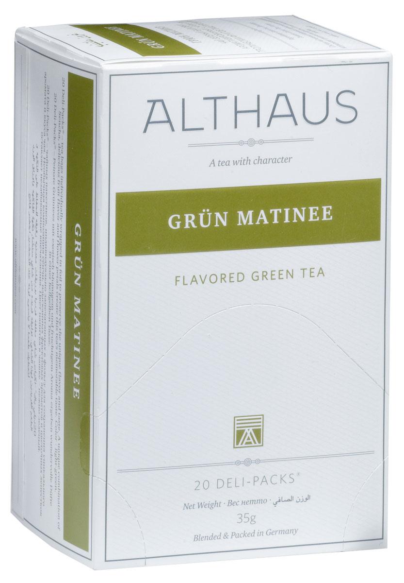Althaus Grun Matinee чай травяной в пакетиках, 20 штTALTHB-DP0021Grun Matinee - необыкновенный купаж классического японского зеленого чая Сенча, изысканных тропических фруктов. Оптимальная температура заваривания Grun Matinee 85°С. В каждой упаковке находится по 20 пакетиков чая для чашек. Страна: Япония.Температура воды: 75-85 °С.Время заваривания: 2-3 мин.Цвет в чашке: светло-зеленый.Althaus - премиальная чайная коллекция.Чай, ингредиенты и ароматизаторы для своих купажей компания Althaus получает от тщательно выбираемых чайных садов, мировых поставщиков высококачественных сублимированных фруктов и трав, а также ведущих европейских производителей ароматизаторов. Пакетик Deli Pack представляет собой порционный двухкамерный мешочек из фильтр-бумаги, запаянный в специальный термоконверт с алюминиевой фольгой. Материал конвертов, в которые запаиваются мешочки с чаем Althaus состоит из четырех слоев:белая бумага с нанесением изображенияполиэтилен пониженной плотностиалюминиевая фольгаполипропилен.Благодаря такому составу упаковка Deli Packs исключает потерю первоначального вкуса и аромата чая в процессе транспортировки и хранения. Deli Packs прекрасно подходят для:домашнего использованияресторанов самообслуживаниябанкетовзавтраков в гостиницахлюбых других случаев, когда необходимо быстро и без особых усилий заварить чашку качественного чая.