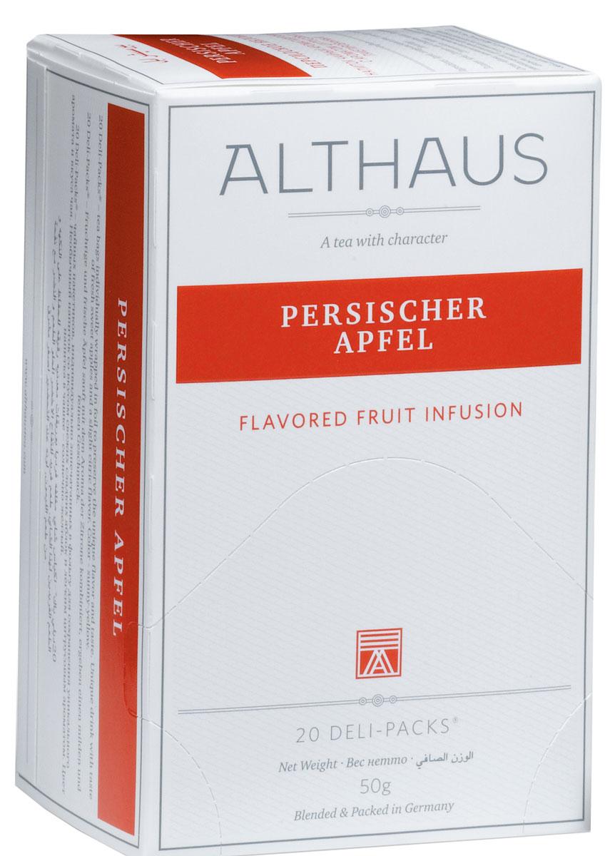 Althaus Persischer Apfel чай фруктовый в пакетиках, 20 штTALTHB-DP0026Persischer Apfel - уникальный фруктовый напиток со вкусом свежих яблок и тонким ароматом цитрусовых. Этот чай обладает нежным гармоничным вкусом с легкой кислинкой, которая мгновенно переходит в обволакивающую сладость.Яблочный чай, богатый витаминами, укрепляет здоровье и повышает тонус. Этот напиток прекрасно сочетается с десертами, содержащими корицу.В каждой упаковке находится по 20 пакетиков чая для чашек. Страна: Германия.Температура воды: 85-100 °С.Время заваривания: 4-6 мин.Цвет в чашке: солнечный желтый. Althaus - премиальная чайная коллекция.Чай, ингредиенты и ароматизаторы для своих купажей компания Althaus получает от тщательно выбираемых чайных садов, мировых поставщиков высококачественных сублимированных фруктов и трав, а также ведущих европейских производителей ароматизаторов. Пакетик Deli Pack представляет собой порционный двухкамерный мешочек из фильтр-бумаги, запаянный в специальный термоконверт с алюминиевой фольгой. Материал конвертов, в которые запаиваются мешочки с чаем Althaus состоит из четырех слоев:белая бумага с нанесением изображенияполиэтилен пониженной плотностиалюминиевая фольгаполипропилен.Благодаря такому составу упаковка Deli Packs исключает потерю первоначального вкуса и аромата чая в процессе транспортировки и хранения. Deli Packs прекрасно подходят для:домашнего использованияресторанов самообслуживаниябанкетовзавтраков в гостиницахлюбых других случаев, когда необходимо быстро и без особых усилий заварить чашку качественного чая.