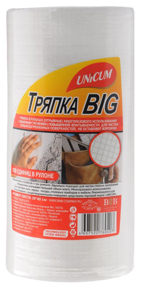 Тряпка Unicum Big, с тиснением вафля, 100 шт760407Тряпки Unicum Big с тиснением вафля незаменимы в хозяйстве и при ремонте. Идеально подходит для чистки стойких загрязнений. Великолепно впитывают большой объем влаги. Многоразового использования. Подходят для протирки окон, зеркал, посуды, столовых приборов и мебели.Количество в рулоне: 100.Размер листа: 30 см х 40 см.