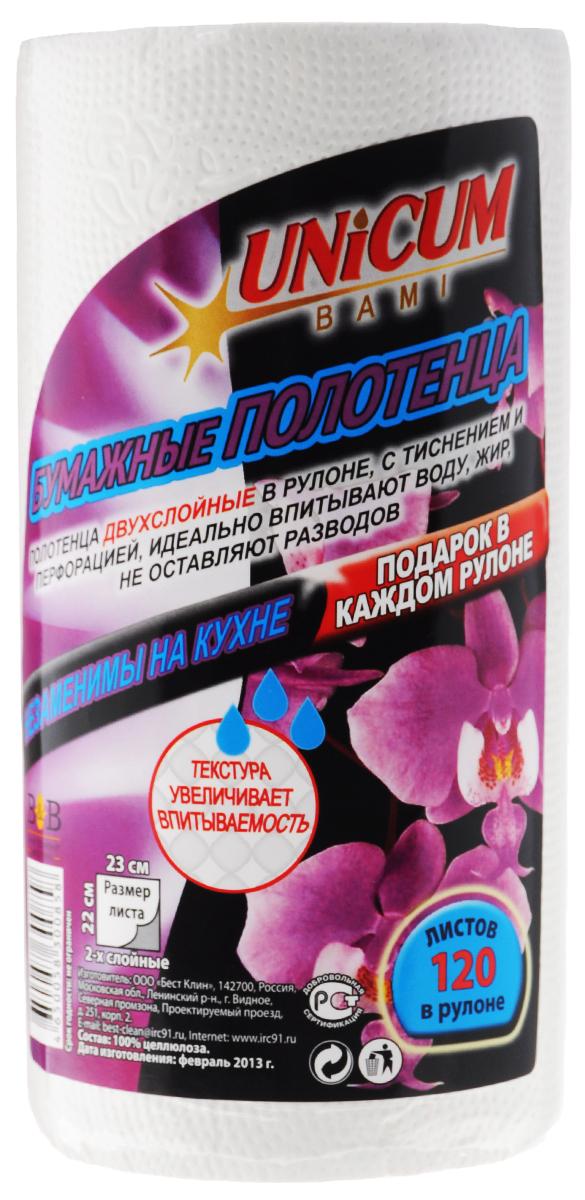 Полотенца бумажные Unicum, 120 шт300858Бумажные двухслойные полотенца Unicum в рулоне, с тиснением и перфорацией. Идеально впитывают воду, жир и не оставляют разводов. Выполнены из 100% целлюлозы. Особая текстура увеличивает впитываемость. Незаменимы на кухне.Количество в рулоне: 120.Размер листа: 23 см х 22 см.